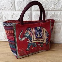 Tas tote bag wanita kanvas owl gajah import tas thailand bangkok