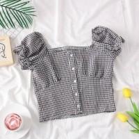 crop sabrina kotak kotak square baju wanita anak anak remaja atasan
