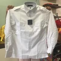 Baju Seragam Dinas Kemeja Pilot Pangkat Kantong PDH Panjang Putih