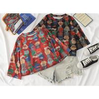 Kaos T Shirt Oversized Big Size BTS Artsy full monokrom maroon