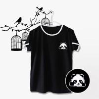 Ringer Tee / T-Shirt / Kaos Wanita Lengan Pendek PANDA