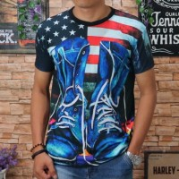 Baju Kaos Pria Tshirt Distro Cowok Kekinian Atasan Katun 3D Print Bang