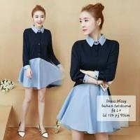 kemeja korea dress mini terusan wanita hem shirt longshirt collar