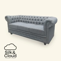 Silk&Cloud Chesterfield 3 seat sofa - Grey