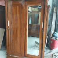 lemari pakaian 2 pintu slide kayu jati