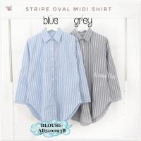 AB510093B Baju Atasan Kemeja Garis Wanita Blouse Korea Import Tunik