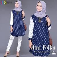 Pakaian Gaun Gamis Atasan Muslimah Cantik Baju Muslim Blus DINI POLKA