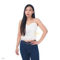 LULU Lace Tank Top Atasan Brukat Crop Camisole Tanktop Sweetheart - WHITE