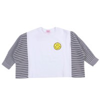 MOEJOE Stripes Smile Crop Top / Baju Anak Crop Perempuan - Black, 4