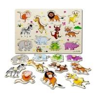 Ciustoys - Wooden Knob Puzzle Binatang A3009 - Mainan Edukasi Anak