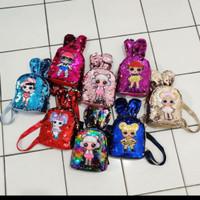 Ransel sequin Lol LED usap/tas anak mini berubah warna