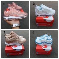 Sepatu Wanita Nike Airmax 97 Gold / Emas / Putih Cream / Putih Biru