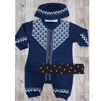 jumpsuit muslim navy koko Jumper Baju anak Bayi laki 3 4 5 6 bulan