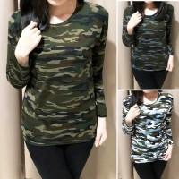 Baju Kaos Army Loreng Wanita Lengan Panjang Best Seller Shirt 5309