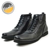 Sepatu Pria Boots Casual Tali Resleting Model Bally Kulit Asli MLY3011
