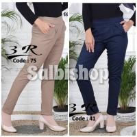 Celana chino 3R celana kerja wanita pinggang karet