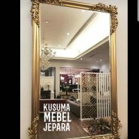 Cermin Minimalis Ukir Kayu Jati (Panjang 120cm, Lebar 50cm)