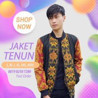 Jaket Bomber Batik Pria Tenun Ikat Troso Handmade