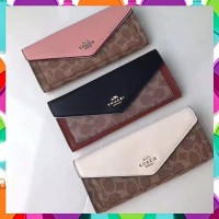 Coach Soft Wallet In Colorblock Crossgrain Leather Original Factory