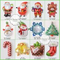 Set Isi 12 Pcs Balon Foil Natal / Merry Christmas Mini Aneka Motif