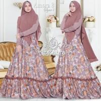 AMORA 3 by Azzahra Gamis Syari Motif Bunga Set Khimar Polos ORI BRAND
