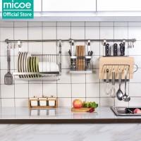 Micoe rak dapur hiasan dinding rak penyimpanan stainless steel 3 set