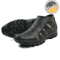 Sepatu Boot Pria Boots Touring Casual Kulit Asli Resleting Mks07 Murah - Hitam, 40