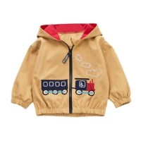 Jaket baby hoodie brown train