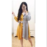 kemeja wanita dress kuning 2 warna two tone mini shirt longshirt long