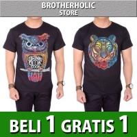 Buy 1 Get 1 Kaos pria distro lengan pendek motif owl lion