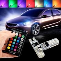 SEPASANG LAMPU SENJA LED RGB T10 5050 SMD 16 WARNA PLUS REMOTE
