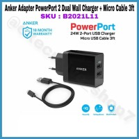 Anker Adapter PowerPort 2 Dual Wall Charger + Micro Cable 3ft B2021L11