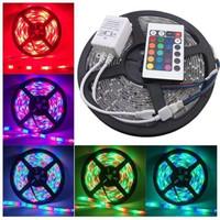 Lampu led strip RGB warna warni ip44 3528 komplit set adaptor remote .
