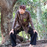 Baju Sorjan Adat Jawa Lurik Dalang plus celana batik - sorjan