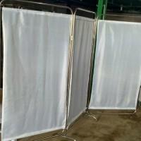 Bedscreen 3Bidang Pembatas Ruangan Dirumah Sakit Bahan Stainless Steel