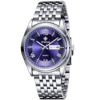 WWOOR jam tangan analog pria 8802 silver Blue Rantai stainle CnzH06