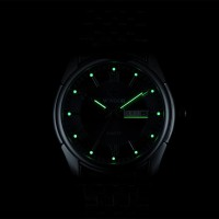 WWOOR jam tangan Quartz pria 8802 silver Black Rantai stainl CnzH07