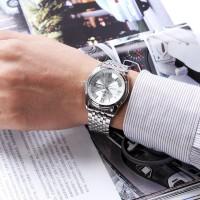 WWOOR jam tangan pria 8802 silver white Rantai stainless Fit CnzH08