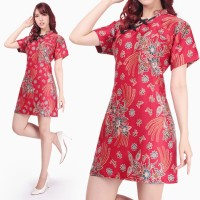 Dress Midi Cheongsam Zreqie Shortdress Batik Modern Wanita