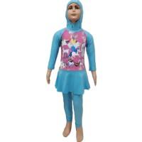 Baju Renang Muslim Anak TK Rok XL Little Pony Unicorn Kuda Poni 2