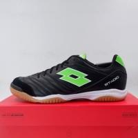 Sepatu Futsal Lotto Stadio 300 II ID All Black Spring Green