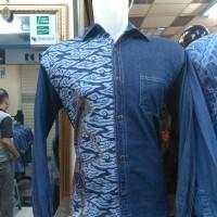Baju Batik Jeans-Jins Pria Lengan Panjang Mewah Keren Elegan Gusbatik