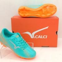 sepatu olahraga bola anak CALCI SCORCH SC JR Turquoise Orange original