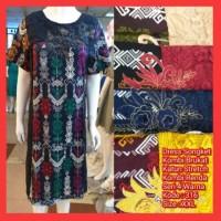 Dress Batik Cewek Etnik Motif Ulos Terusan Baju Pesta Wanita Kombinasi