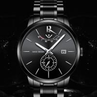 jam tangan nibosi 2318 Black rantai Stainless Steel jam pria CnzH391