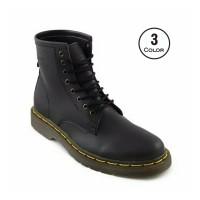 Sepatu Boots New Casual Docmart Hitam Pria - Boot Kulit Sintetis Murah