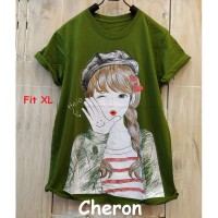 CHERON 16738 - Kaos Oblong Wanita Dewasa Fit XL Baju Cewek Warna Hijau