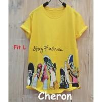 CHERON 16430 - Kaos Oblong Wanita Fit L Baju Cewek Warna Kuning