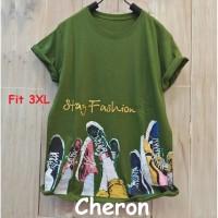 CHERON 16874- Baju Kaos Oblong Wanita Dewasa JUMBO 3XL Warna Hijau