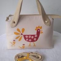 Tas batik motif ayam bahan kulit premium